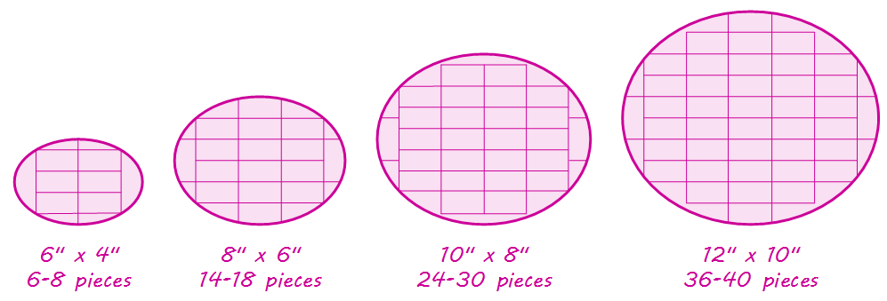 Diagram explaining how to cut oval cakes